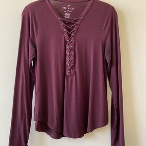 American Eagle Soft & Sexy Lace-up Top